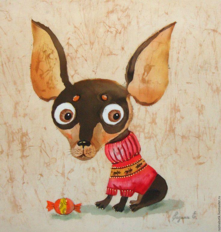 Купить или заказать Той терьер 'Карамелька' в интернет-магазине на Ярмарке Мастеров. горячий батик…