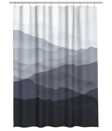 Shower Curtain In Water Repellent Polyester With A Printed Pattern Metal Grommets At Top Rings Sold Separately