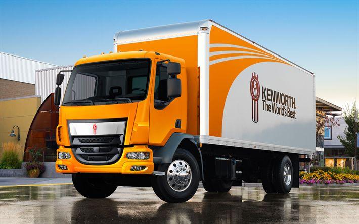 Descargar fondos de pantalla Kenworth K-370, camionetas, camiones nuevos, naranja K-370, la entrega de la carga, camiones Kenworth
