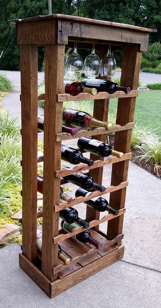 Pallet Wood 24 bottle Wine Rack 48 Tall by SpencerValleyEcoFarm, $189.99: