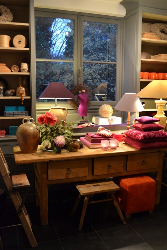 """A view form the private home of Walda Pairon, Belgian Designer. I like all the """"layering"""" of accessories, and Walda's use of 'found' objects, books, textures, and spheres"""