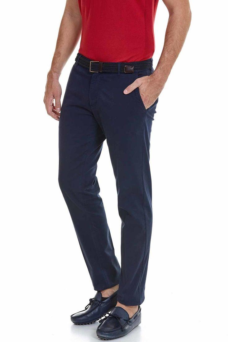 Lacivert Pamuk Chino Pantolon