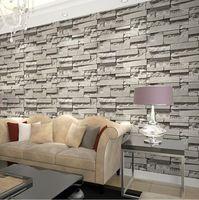 Importado da coréia do sul modelos de papel de parede rolo de pedra 3d papel de parede de pvc cinza frete grátis