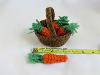 free crochet pattern for these cute Amigurumi Basket of Carrots - for the basket and the carrots too --- by ~ Amigurumi To Go