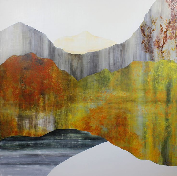"""Spiced Orange Granite Bank, 60x60"""" Acrylic on panel Original Paintings inspired by the seasonal color of Aspens in the Fall over high altitude Mountain Geological Landscapes. Art by Sarah Winkler"""