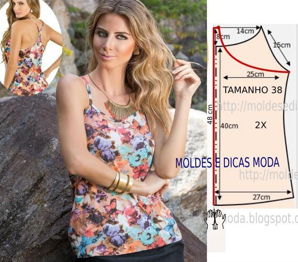 Analise de forma detalhada o desenho do molde de blusa de alças. Esta blusa é simples e bela, veste de forma descontraída e elegante. As medidas correspondem ao tamanho 40.