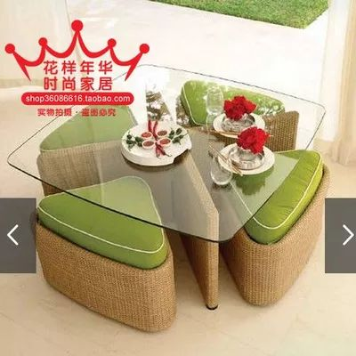 Бесплатная доставка предложения удача, счастливый клевер хранения журнальный столик журнальный столик типа закаленное стеклянный стол и четыре стула качество - Taobao