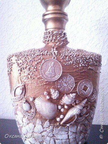Декор предметов Ассамбляж Золотое море Бумага Бутылки стеклянные Клей Материал природный фото 1