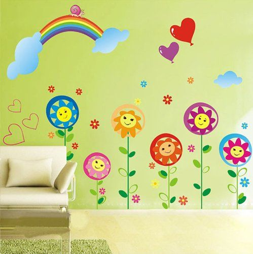 1 X Sun flower Smiley Under the Rainbow kids room removable cartoon wall sticker decals