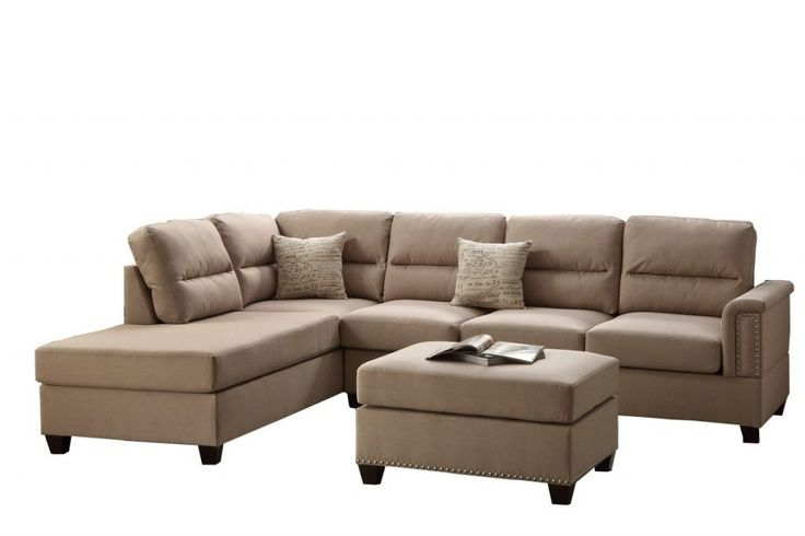 Poundex Bobkona Toffy Linen Like Left Or Right Hand Chaise Sectional With Ottoman Set Sand Zonhunt