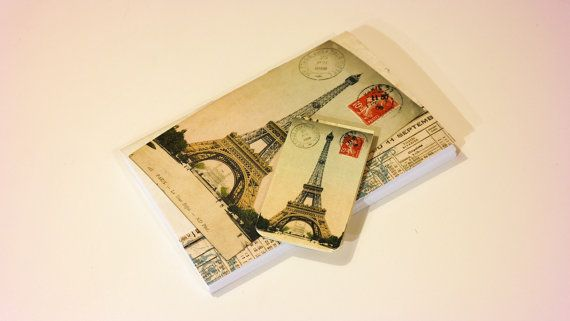 Eiffel tower journal & magnetic bookmark vintage by GuBoArtBook