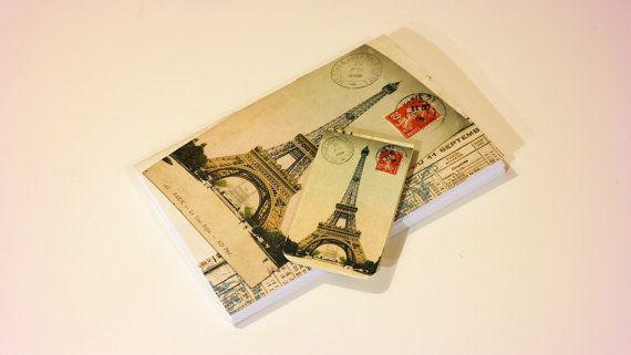 Eiffel tower journal & magnetic bookmark vintage by GuBoArtBook
