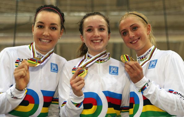 Laura Trott Photos - Dani King; Elinor Barker and Laura Trott of Great Britain pose with their medals after winning the Women's Team Pursuit…