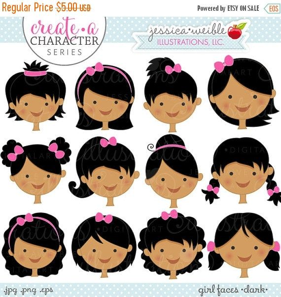 SALE Dark Girl Faces Create A Character Series by JWIllustrations