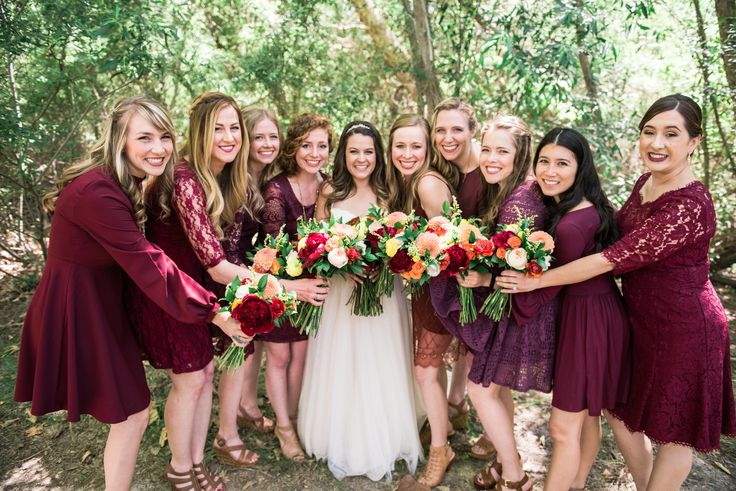 BOHEMIAN BREWERY WEDDING | We are in love with our bohemian bridal party! Bold colored bridal bouquets, deep marsala bridesmaid dresses and a gorgeous natural backdrop.