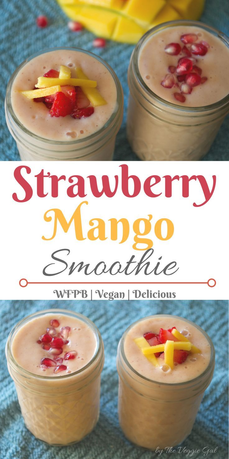 Thick, creamy and vegan Strawberry Mango Smoothie