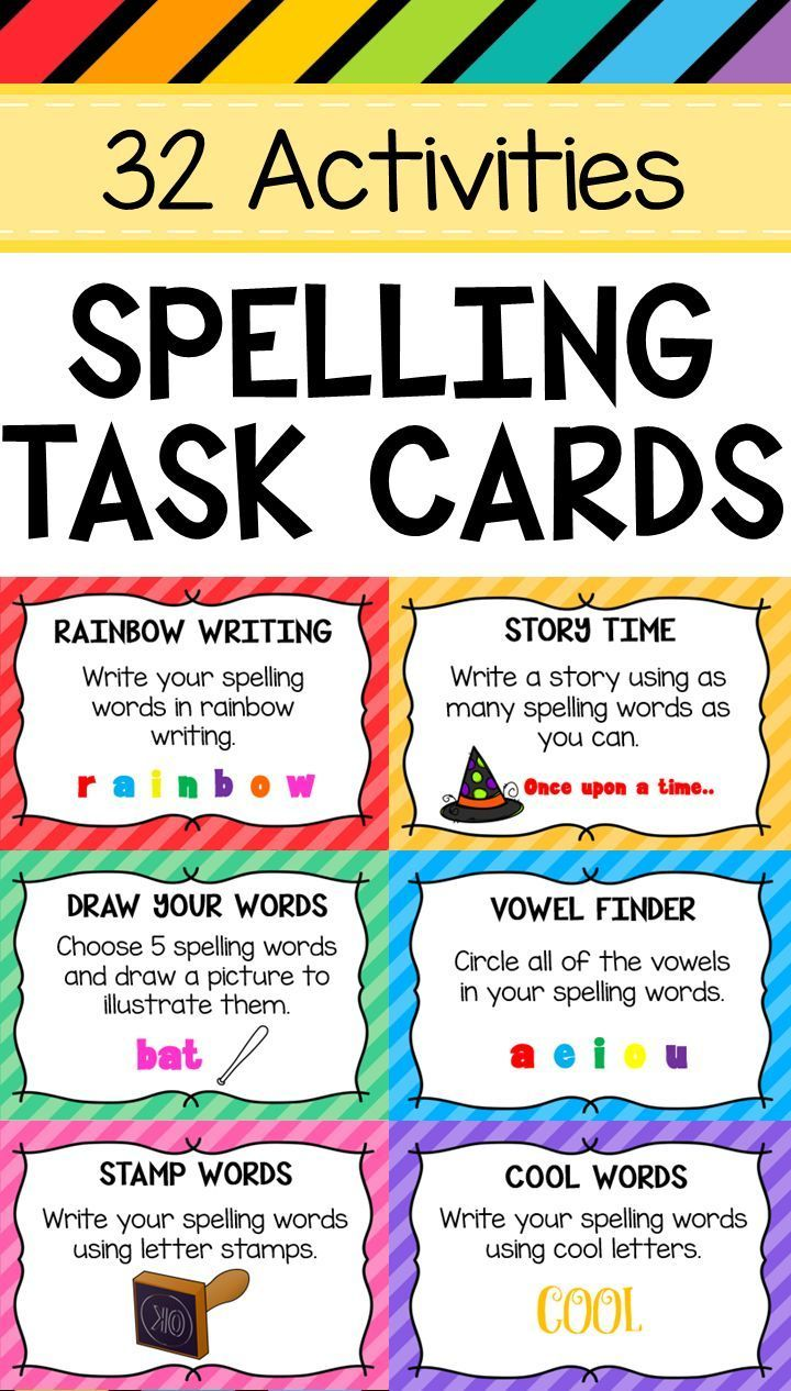 12 Spelling Task Cards. Activities include Rainbow Writing