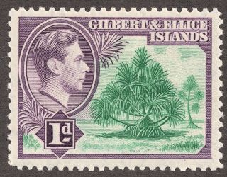 "1939 Scott 41 1p dark violet & bright blue green ""Pandanus"" This King George VI set also has a smaller design as one will note above. Other scenes depict ""Coconut trees"", ""Phosphate loading jetty"", and ""Ocean Island"