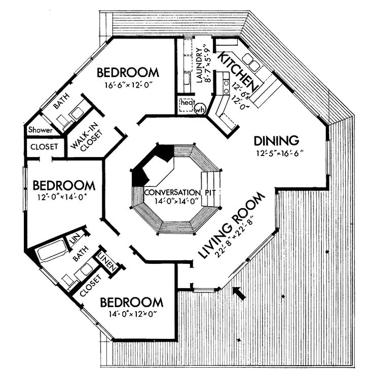 Home Plans HOMEPW04196 - 1,664 Square Feet, 3 Bedroom 2 Bathroom Contemporary Home with