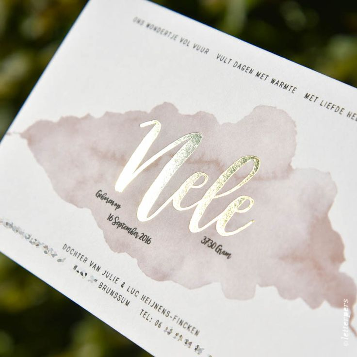 De ouders van Nele hebben zelf dit prachtige ontwerp gemaakt voor hun meisje. De kaart hebben we geprint op maar liefst 600 gram katoen papier.
