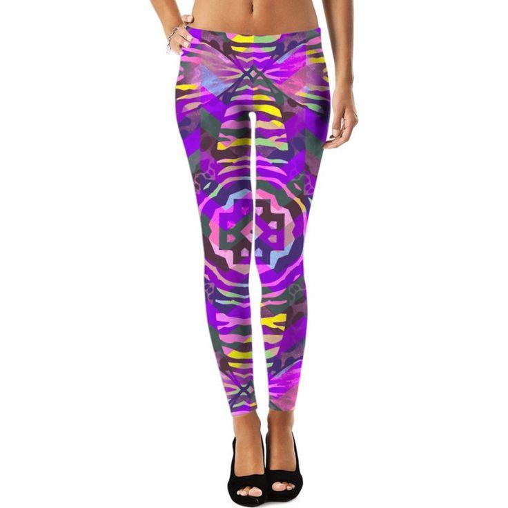 Purple Haze Yellow Grunge Zebra Print Leggings |Ocdesignzz