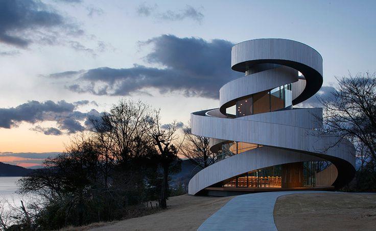 hiroshi nakamura's ribbon chapel spirals above japanese resort - designboom | architecture