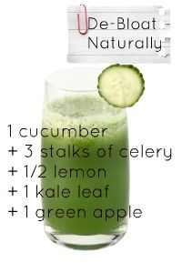 1 cuke + 3 stalks celery + 1/2 lemon + 1 kale leaf + 1 green apple