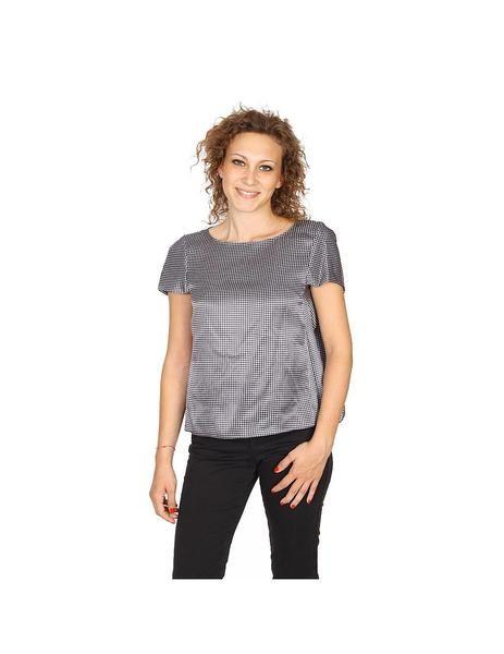 Armani Collezioni ladies shirt short sleeve without buttons RMC17T RM502 019: Armani Collezioni ladies shirt short sleeve without buttons RMC17T RM502 019 Grey 36 IT - 0 US
