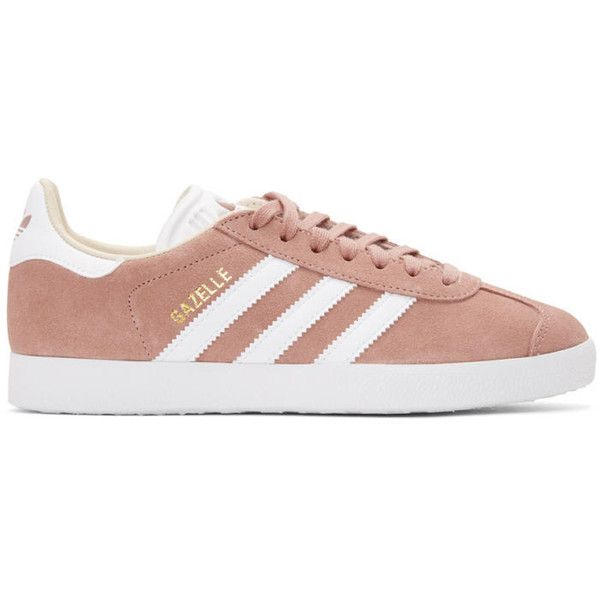 adidas Originals Pink Gazelle Sneakers (€73) ❤ liked on Polyvore featuring shoes, sneakers, pink, pink trainers, treads shoes, lace up shoes, laced up shoes and pink sneakers