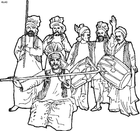 In this pose, you can see that two of them are holding the daangs and two of them are holding tol's. You can also see the little swirls that they have on there turban's.