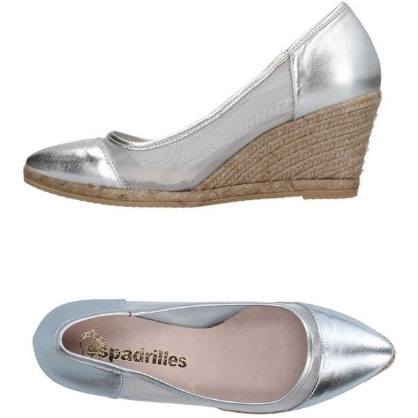 Espadrilles Espadrilles ($34) ❤ liked on Polyvore featuring shoes, sandals, silver, wedge sandals, wedge heel sandals, wedges shoes, rubber sole wedge shoes and wedge sole shoes