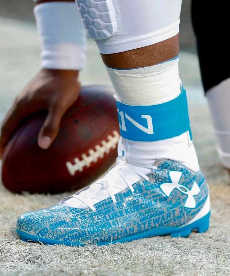 Cam Newton's cleats for the 2016 NFC Championship game...Go Panthers!