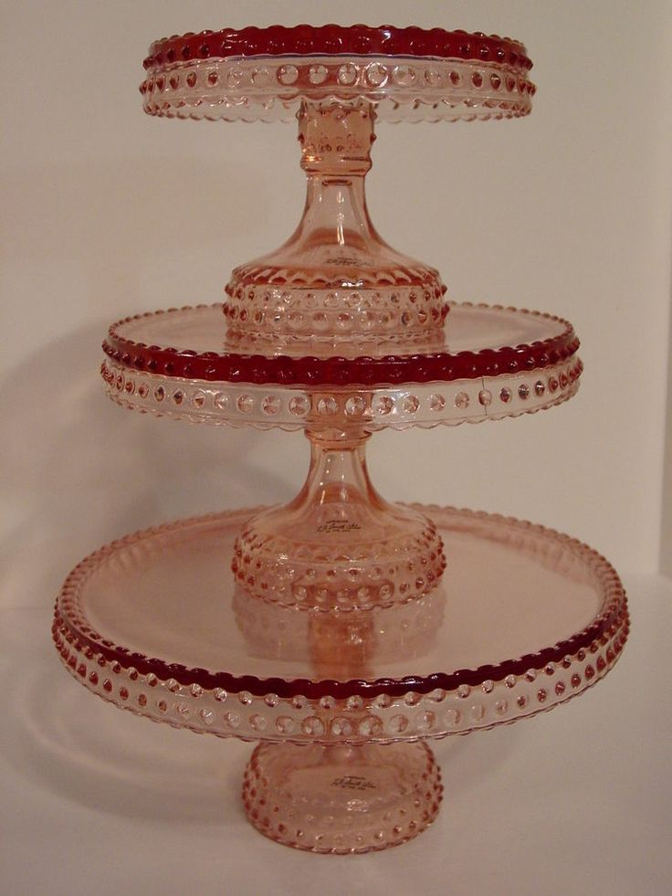 LE Smith Rare Pink Hobnail Glass 15  Tall Pedestal Cake Plate Stand - Set of & 278 best CAKE ? STANDS images on Pinterest | Tiered cake stands ...