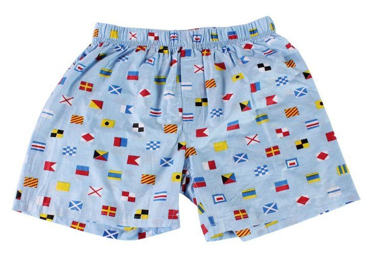 Men's Nautical Flags Boxer. Malabar Bay offers a range of organic-cotton fashions and products in an assortment of preppy prints and patterns, perfect for the eco-friendly and style-conscious alike.