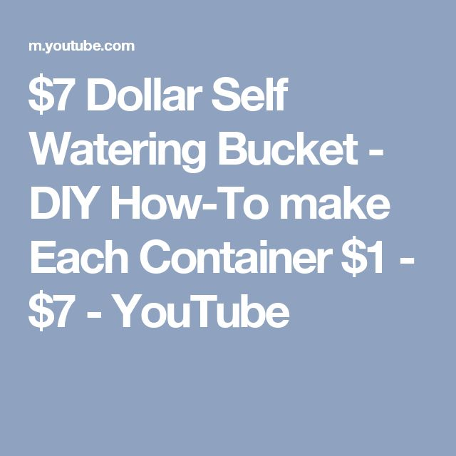 $7 Dollar Self Watering Bucket - DIY How-To make Each Container $1 - $7 - YouTube