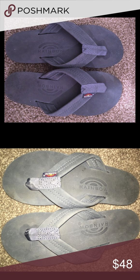 Women's leather single arch rainbow sandal Single arch, blue Rainbow sandals! Barely worn and perfect for summer or fall! Rainbow Shoes Sandals