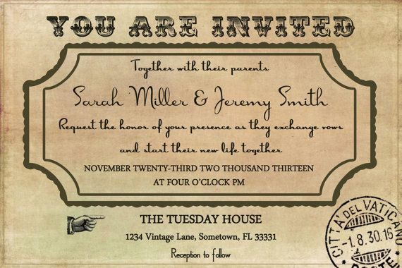 Vintage Wedding Invitation Template by LuckyBean33 on Etsy, $1300 - vintage invitation template