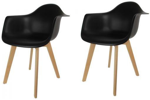 Lot de 2 chaises scandinaves avec accoudoir noires VOGAR
