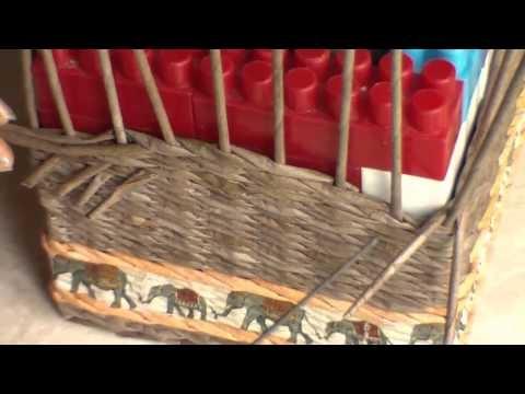 Как плести сундучок из газетных трубочек - II / How to weave paper Chest