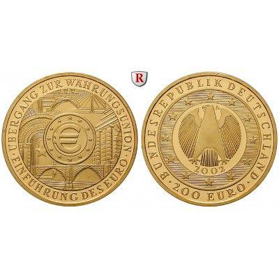 Bundesrepublik Deutschland, 200 Euro 2002, Einführung des Euro, A, 31,1 g fein, st, J. 494: 200 Euro 31,1 g fein, 2002 A. Einführung… #coins