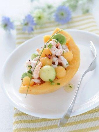 Barchette di melone e gamberi