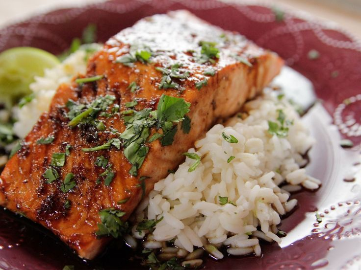Cilantro Lime Salmon recipe from Ree Drummond via Food Network (leave out cilantro, replace with parsely and even lemon for the lime)