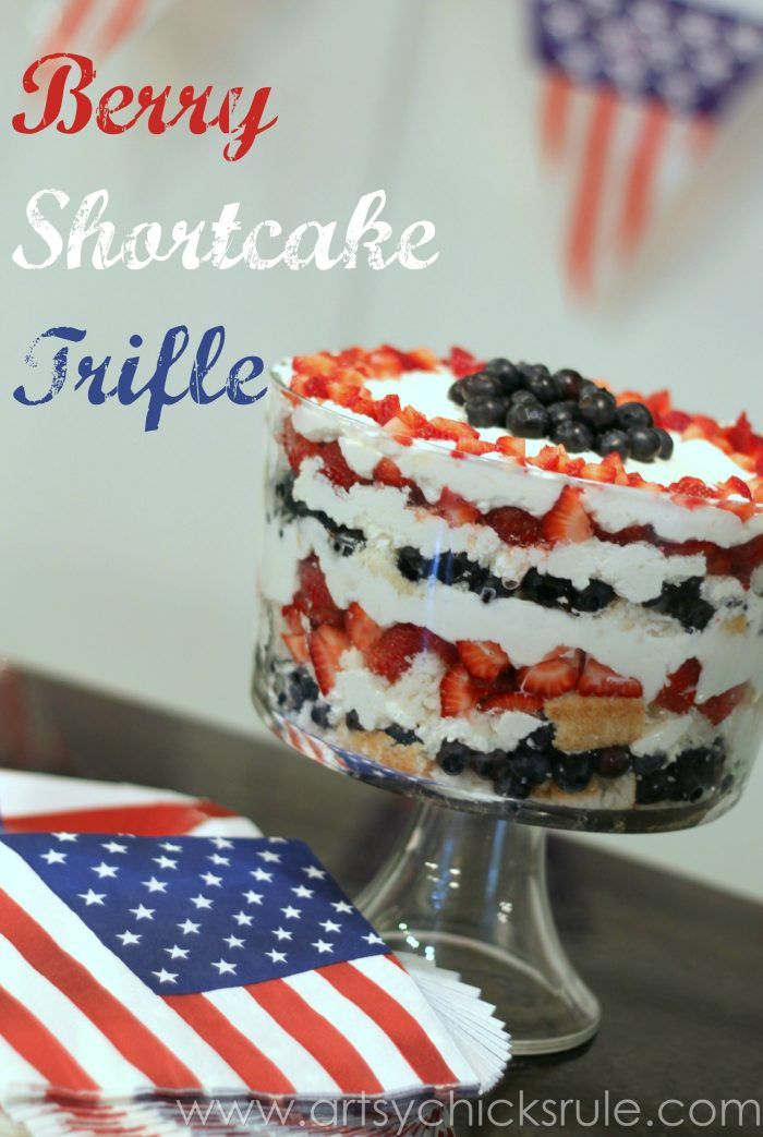 Delicious Berry Shortcake Trifle Recipe - Red, White & Blue dessert perfect for patriotic themed parties!