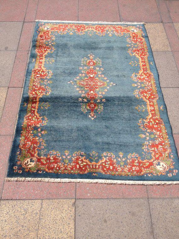 Antique Light Blue Turkish Carpet Rug ca 1900  by pergamonpillow, $1950.00