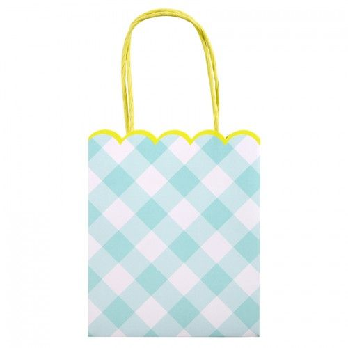 Blue Gingham Party Bag - Meri Meri Party Supplies Online