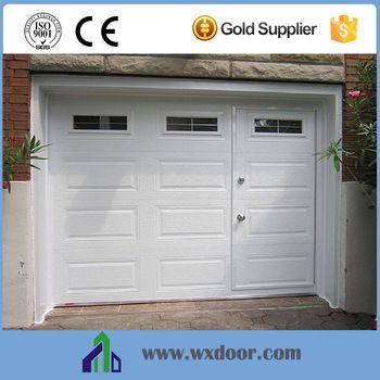 garage door with pedestrian access door and windows