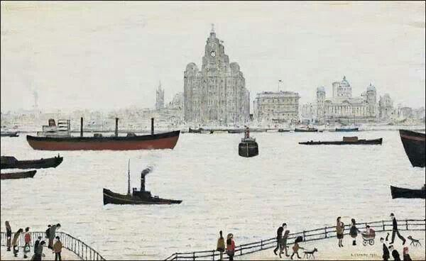Liverpool waterfront LS Lowry