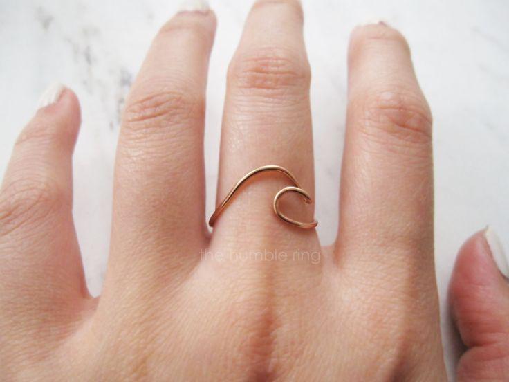 14k Rose Gold Filled Wave Ring Adjustable//rose gold wave ring, wave ring, thin rose gold ring, ocean, surf,dainty rose gold ring, ring wave by TheHumbleRing on Etsy