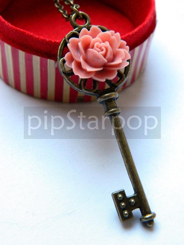 Rose Key necklace