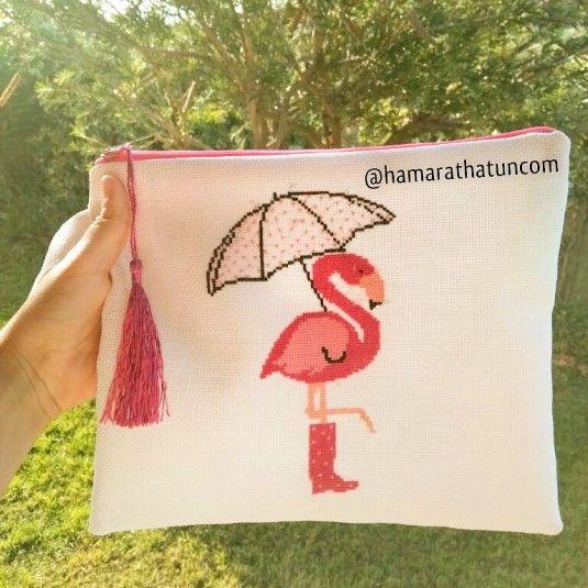 El işi Kanaviçe Flamingo Çanta